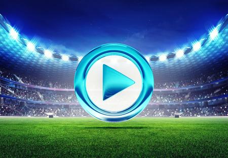 football stadium: football stadium with play switch icon on grass field digital sport illustration