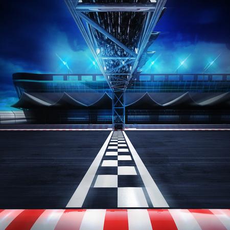 finishlijn poort op het circuit in motion blur zijaanzicht, racing sport digitale achtergrond afbeelding Stockfoto