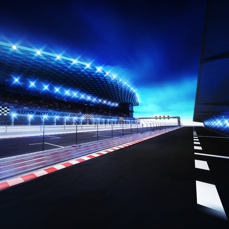 racetrack finish area with box line and shining spotlights, racing sport digital background illustration