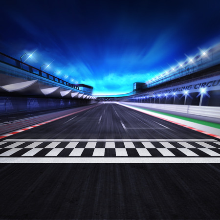 racecourse: finish line on the racetrack in motion blur with stadium and spotlights,racing sport digital background illustration Stock Photo