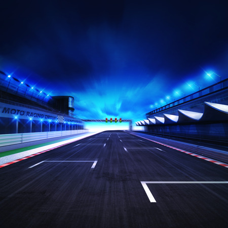 sports race: finish drive on the racetrack in motion blur with stadium and spotlights, racing sport digital background illustration Stock Photo