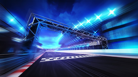 finish gate on racetrack stadium and spotlights in motion blur, racing sport digital background illustration Archivio Fotografico