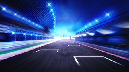 renbaan afwerking rechte weg met 's avonds wazig hemel, racing sport digitale achtergrond afbeelding Stockfoto