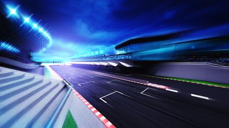 motorsport: race circuit finish section in evening motion blur, racing sport digital background illustration