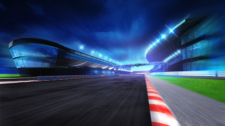 race course with and main stadium at motion blur, racing sport digital background illustration Foto de archivo
