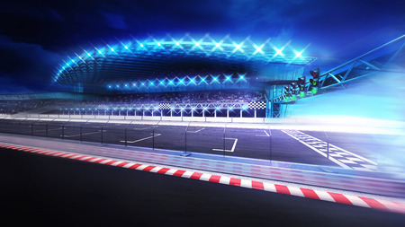finish line gate on racetrack with stadium in motion blur, racing sport digital background illustration Stock Illustration - 47855788