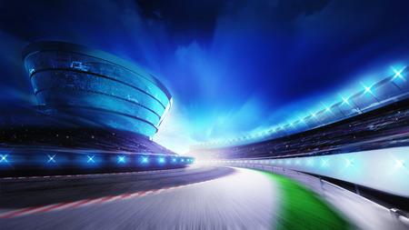 circuit gebogen weg met stands en schijnwerpers, racing sport digitale achtergrond afbeelding
