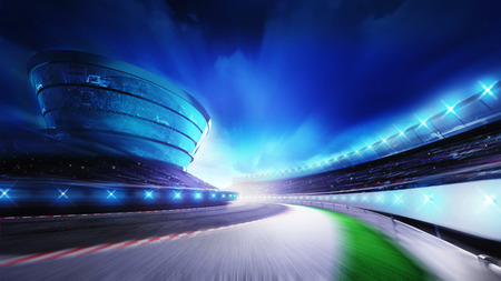 finishing line: race track bended road with stands and spotlights, racing sport digital background illustration
