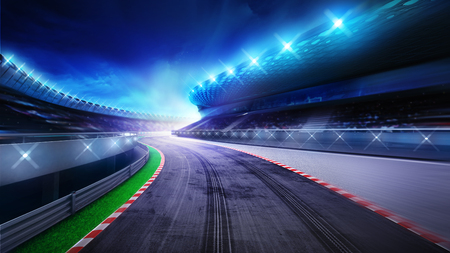 race start: racecourse bended road with stands and spotlights, racing sport digital background illustration