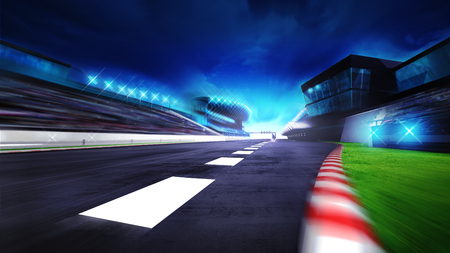スタート フィニッシュ ラインとパドックのビュー スポーツ デジタル背景イラストをレース、競馬場で