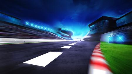 view of the start finish line and paddock on the racetrack, racing sport digital background illustration Reklamní fotografie - 47855862