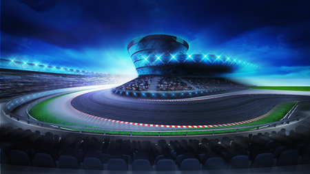 race start: bend on the racetrack with fans on the stands at the front, racing sport digital background illustration