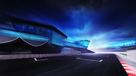 Vue sur la ligne d'arrivée de départ sur la piste de course, sport de course de fond numérique illustration Banque d'images - 47855875