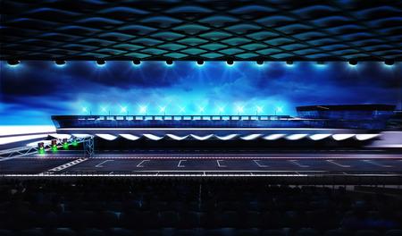 フィニッシュ ラインの動きで競馬場のぼかしトリビューン ビュー、レーシング スポーツ デジタル背景イラスト