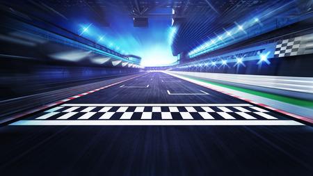 Linia mety na torze wyścigowym z reflektorami w motion blur, wyścigi sportowe cyfrowe tła ilustracji