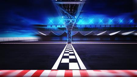 digital illustration: finish line on the racetrack in motion blur side view , racing sport digital background illustration