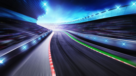 bended asphalt racetrack with stands around, racing sport digital background illustration