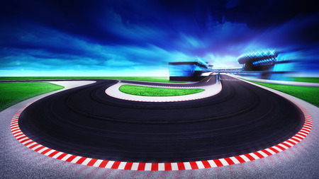 racetrack general view and grand turning at the front, racing sport digital background illustration