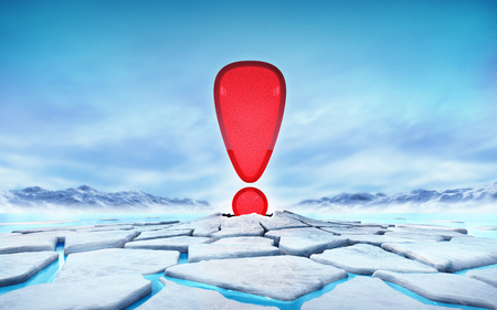 thaw: red exclamation mark in the middle of ice floe cracked hole