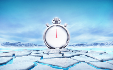 thaw: stopwatch in the middle of ice floe cracked hole