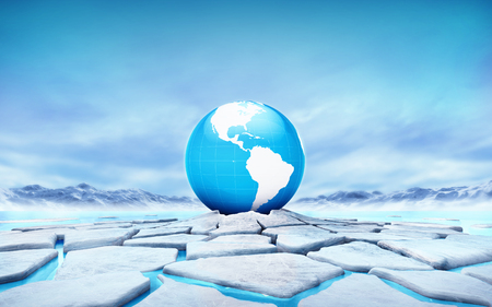 America earth globe in the middle of ice floe cracked hole