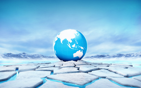 floe: Asia earth globe in the middle of ice floe cracked hole Stock Photo