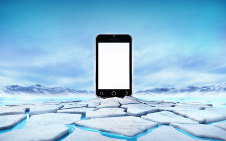 empty cell phone in the middle of ice floe cracked hole