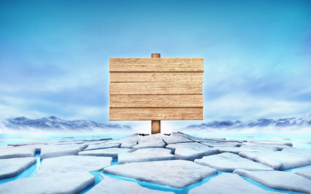 floe: empty wooden desk in the middle of ice floe cracked hole
