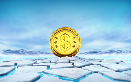 thaw: golden Dollar coin in the middle of ice floe cracked hole