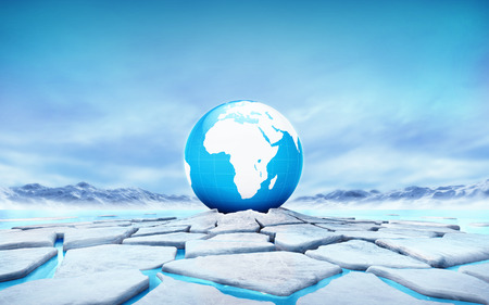 sea disaster: Africa earth globe in the middle of ice floe cracked hole