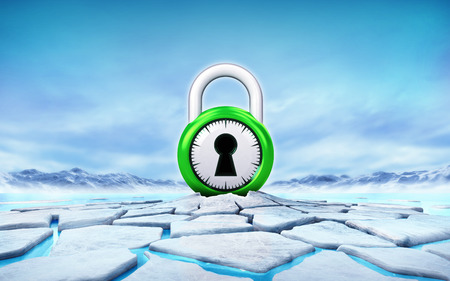 green security padlock in the middle of ice floe cracked hole