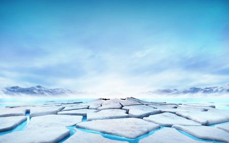catastrophe: fissur�e banquise flottant sur l'eau bleu lac de montagne