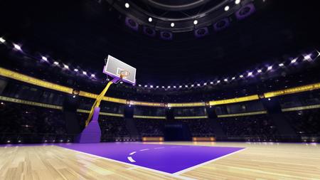 basketball court view with spectators and spotlights, sport topic arena interior illustration Archivio Fotografico