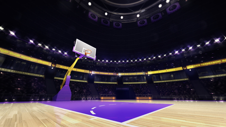 basketball team: basketball court view with spectators and spotlights, sport topic arena interior illustration Stock Photo