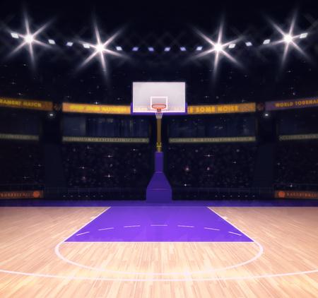cancha de basquetbol: cancha de baloncesto vacía con los espectadores y los focos, tema Sport Arena ilustración interior
