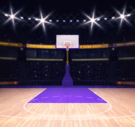 hoop: empty basketball court with spectators and spotlights, sport topic arena interior illustration