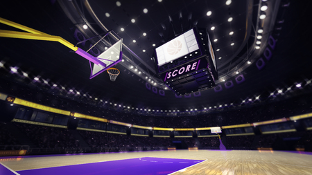 basketball team: basketball court with spectators and spotlights, sport topic arena interior illustration