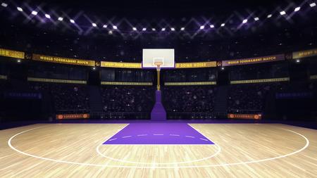 canestro basket: cestino illuminato con spettatori e faretti, argomento Sport Arena illustrazione interni Archivio Fotografico