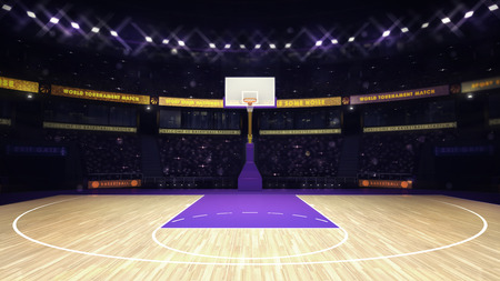 basketball: illuminated basketball basket with spectators and spotlights, sport topic arena interior illustration