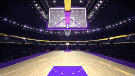농구 코트에서 농구 후프에서, 스포츠 주제 경기장 내부 그림