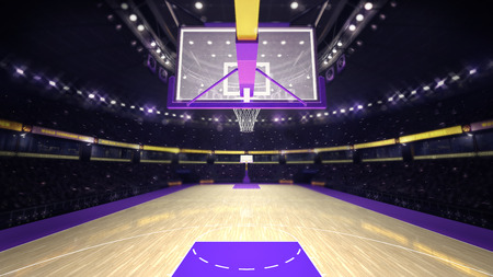 under basketball hoop on basketball court, sport topic arena interior illustration