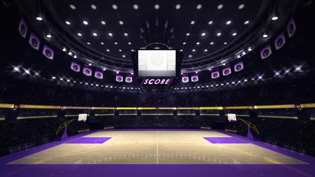 illuminated basketball court with spectators and spotlights, sport topic arena interior illustration Stock Photo
