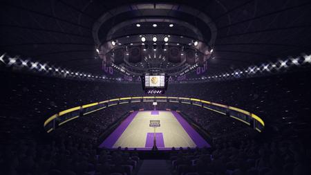 terrain de basket vue frontale générale, sport sujet arène illustration intérieur