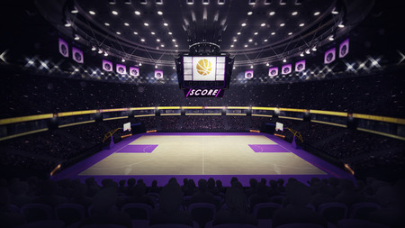 basketball court general side view, sport topic arena interior illustration Imagens