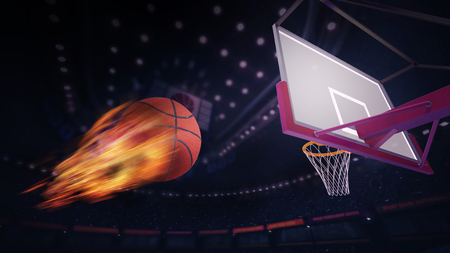 heading the ball: basketball burning ball heading for goal.