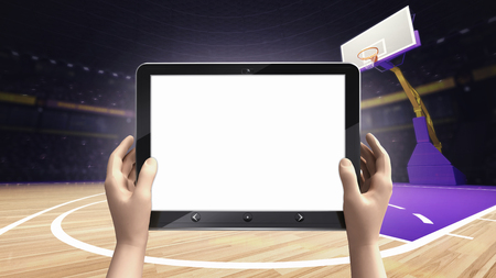 arena: hand holding tablet empty screen with basket ball arena background, sport topic arena interior illustration