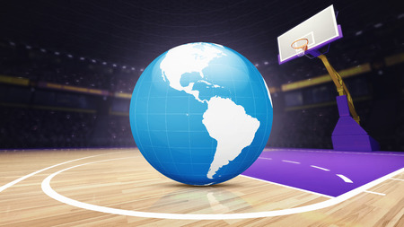indoor court: America world map on basketball court at arena, sport topic arena interior illustration
