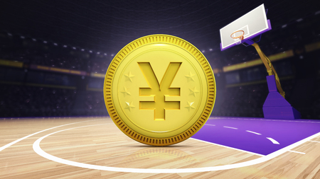 indoor court: golden Yuan coin on basketball court at arena, sport topic arena interior illustration Stock Photo