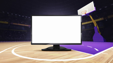 arena: empty TV screen on basketball court at arena, sport topic arena interior illustration