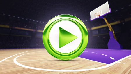 arena: green play icon on basketball court at arena, sport topic arena interior illustration